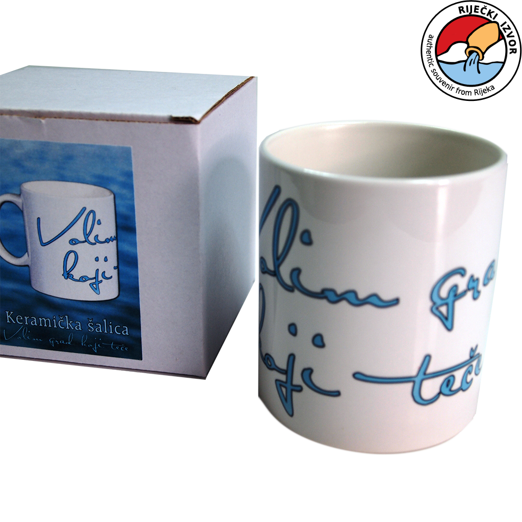 White mug with inscription Volim grad koji teče (I love the city that flows