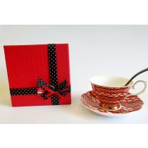 Morčić  linija – Set šalica crvena i žlica Morčić