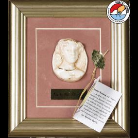 CAROLINE OF RIJEKA —framed ceramic souvenir 17x19 cm
