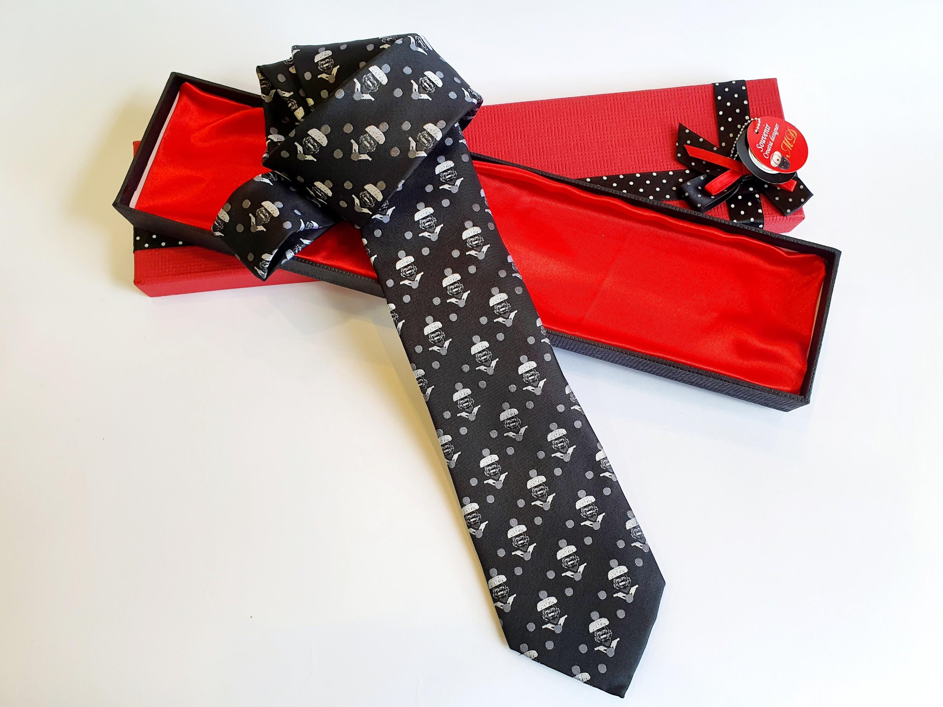 Morčić  linija – Svilena kravata crne boje s likom morčića